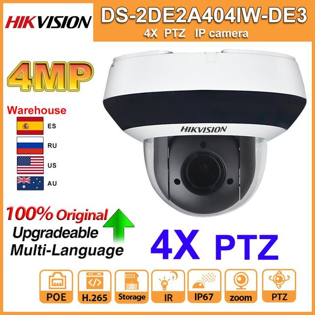 Original Hikvision PTZ IP Camera DS 2DE2A404IW DE3 Updateable 2.8 12mm IR 20M 4X Zoom with PoE H.265 CCTV Video Surveillance