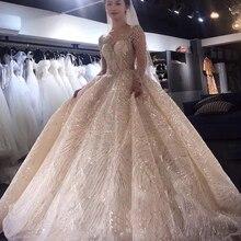 Роскошное летнее сексуальное платье с длинным рукавом платье праздничное с бисером свадебные платья свадебное платье в стиле знаменитостей vestido De Noiva robe de Mariage