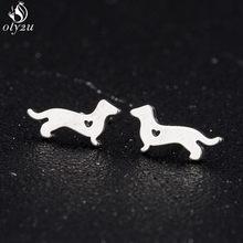 Bonito do cão brincos para mulheres moda amor coração dachshund cão animal brincos crianças jóias acessórios brincos