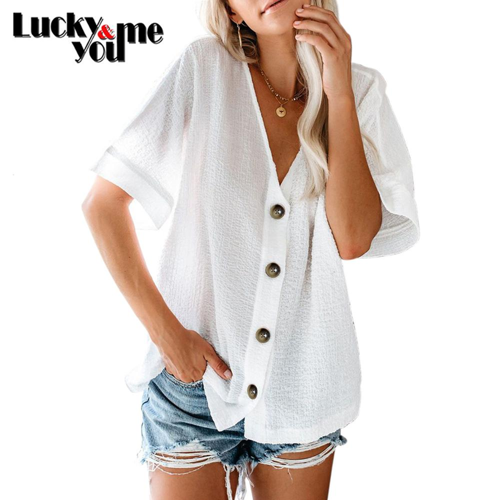 2020 New Arrive Womens Summer Slar-Up Cotton Shirt Female V-neck Short Sleeve Loose Shirt Girls White Orange Navy Cardigan Shirt