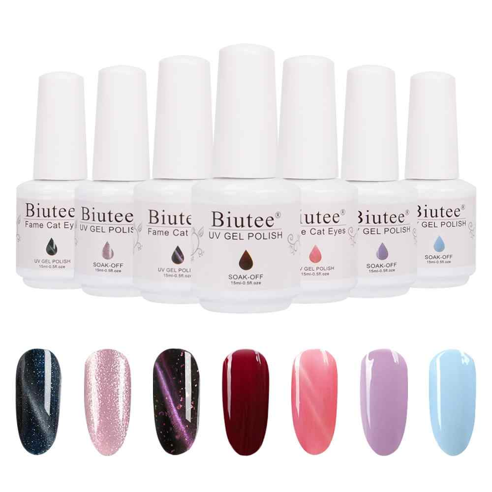 Biutee 15 Ml Gel Nail Polish Glitter Payet LED Uv Gel Varnish 3D Mata Kucing Nail Polish Rendam Off Lacquer gel Lacquer 8 Warna