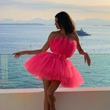 robe de soriee Pink Cocktail Dresses 2019 Pleated Women Formal Prom Party Gown Short Dress