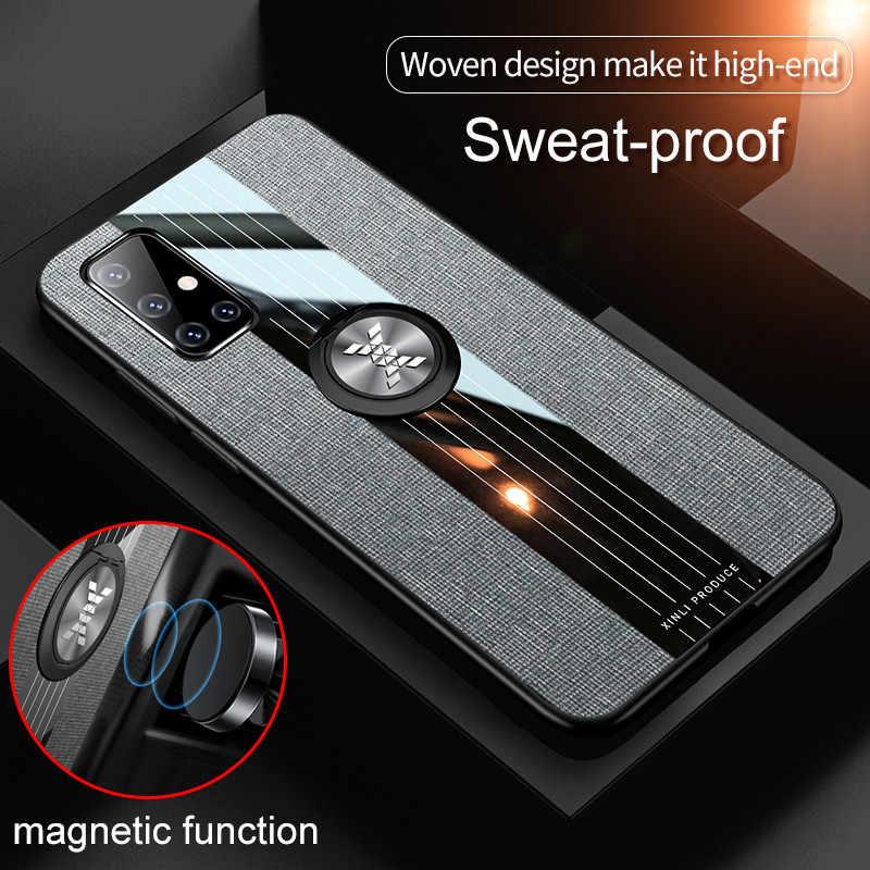 Ağır deri zırh vaka Samsung Galaxy A71 araba manyetik tutucu halka kapak Galaxy A51 SM A515F A717F bir 51 71 Coque