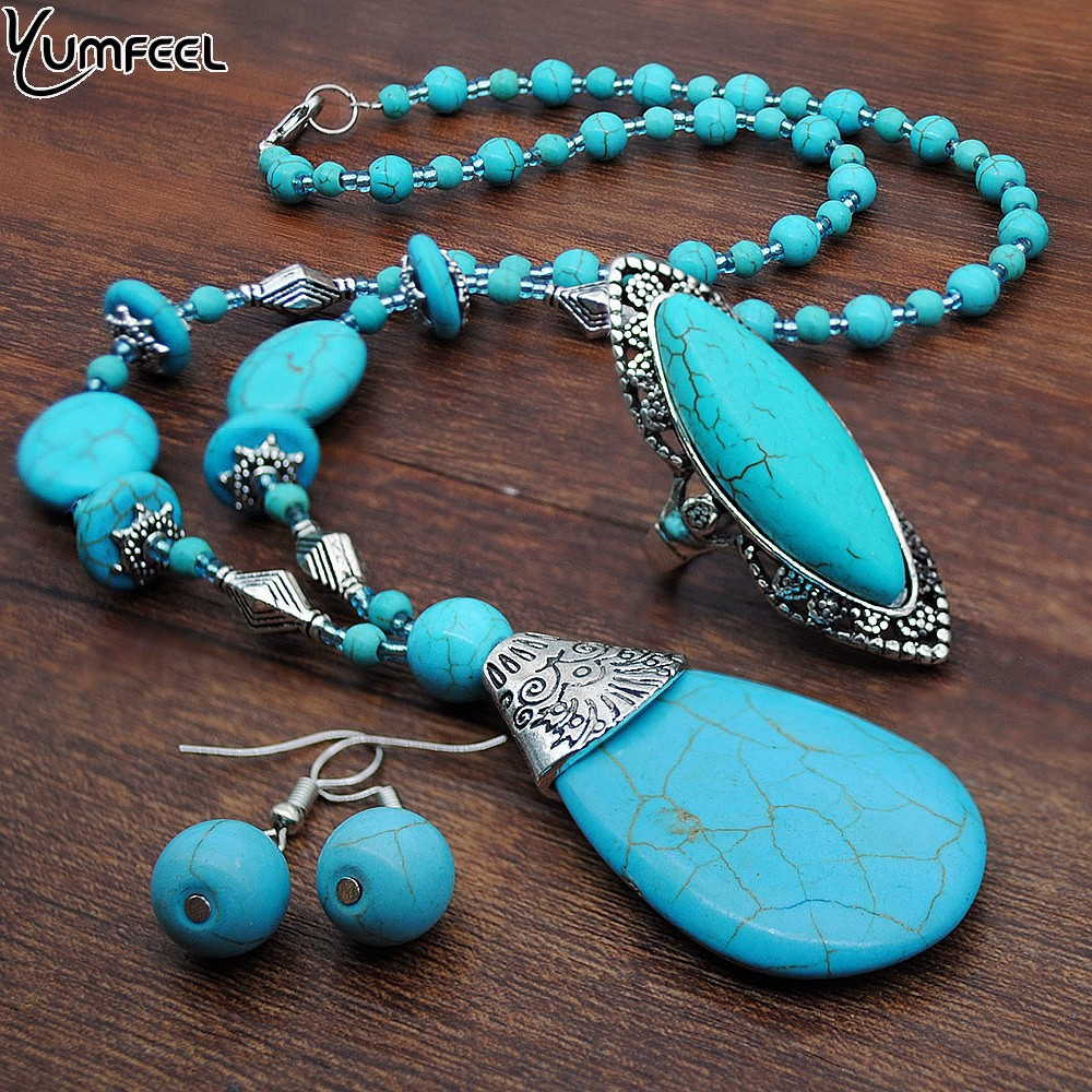 Yumfeel Brand New Vintage Turquoise Jewelry Sets Blue Turquoise Necklace Earring Ring Set Women