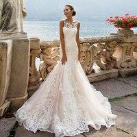Robe de Mariage 2019 See Through Back Luxury Mermaid Wedding Dresses China Sleeveless Vestidos de Novia Vintage Tulle Trouwjurk
