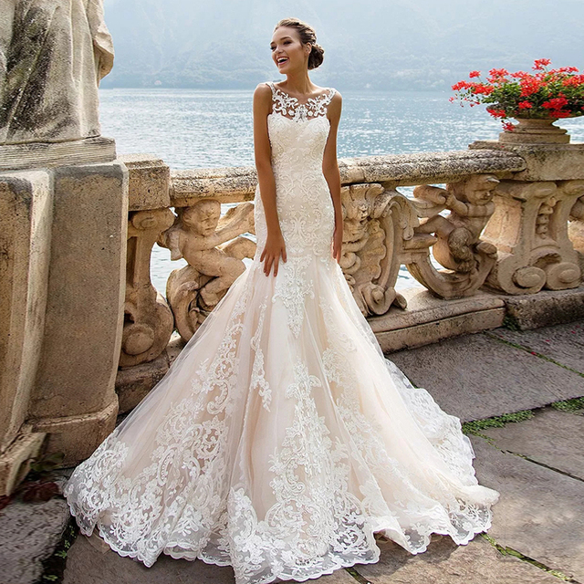 Robe de Mariage 2020 See Through Back Luxury Mermaid Wedding Dresses China Sleeveless Vestidos de Novia Vintage Tulle Trouwjurk