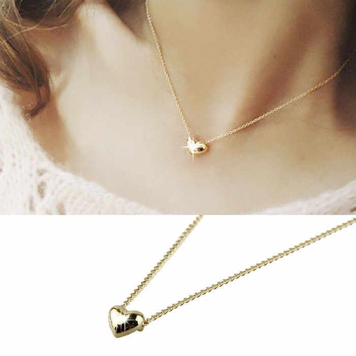 2019 תכשיטים חדשים נשים קריסטל רוז זהב לב בצורת סגסוגת עצם הבריח קצר שרשרת לנשים ילדה מתנת שרשרת תכשיטים
