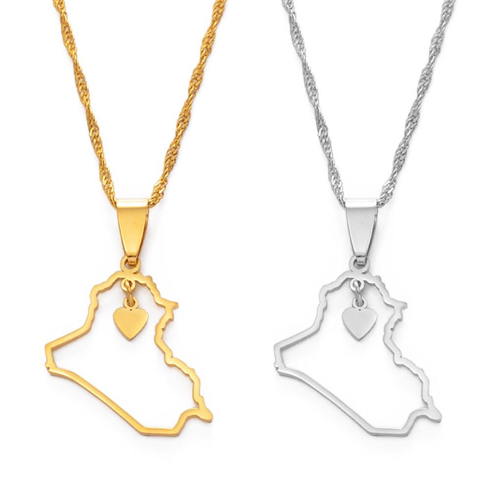 Anniyo/Сердце Ирак карта кулон ожерелье серебро Цвет/золото Цвет ювелирные изделия карта Ирака ожерелья #160521