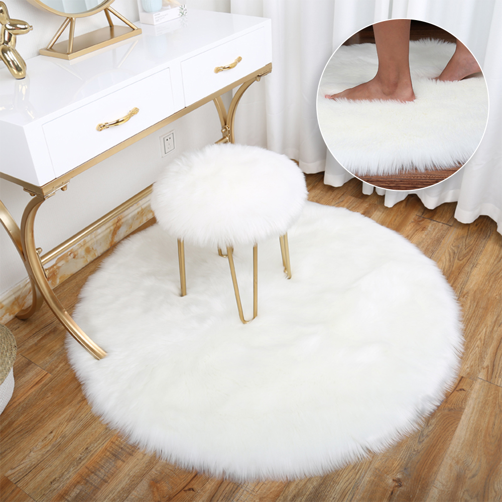 Round Rugs Carpets Soft Faux Fur Wool Living Room Sofa Carpet Plush Carpets Bedroom Mat Warm Hairy Carpet Seat Fur Area Rugs