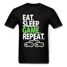 EAT SLEEP GAME ripeti la maglietta stampata dell'unità Z gioca a lettera PC Controller Gamer t-shirt in puro cotone per uomo