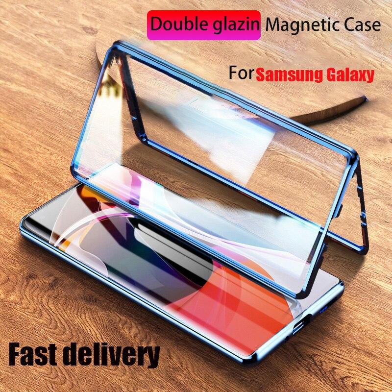 Funda de Metal magnética para Samsung Galaxy Note 20 Ultra 10 Pro 9 S20 S10 S9 S8 Plus A51 A71 A50 A70 A10 A20 cubierta de vidrio de doble cara