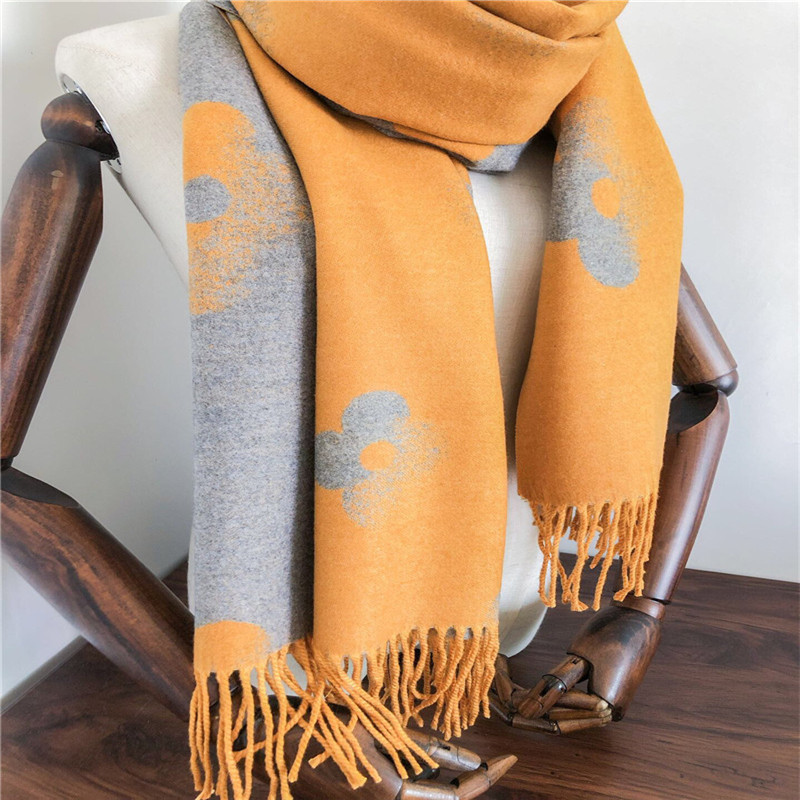 New Autumn Winter Warm Shawl Female Four Leaf Clover Scarf Of 2019,Women's Scarf With Both Sides Scarf Women Cashmere-like Scarf