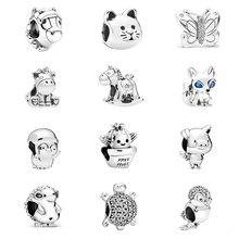 Neue Bär Schwein Tier Königreich Katze Hund Einhorn Perle Fit Original Pandora Charms Silber Farbe Armband Für Frauen Mode Schmuck