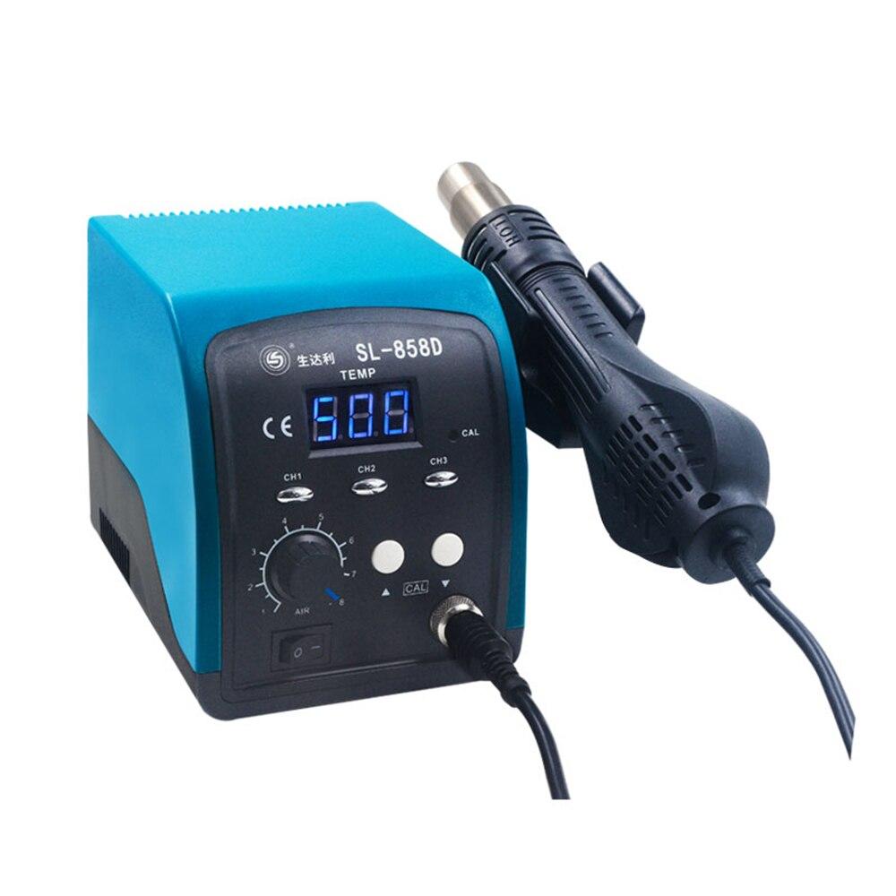 SL-858D smart blue screen hot air gun desoldering station digital display thermostat mobile phone repair tool
