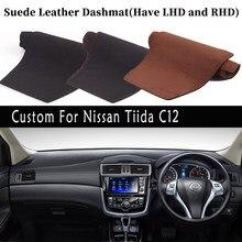 Akcesoria samochodowe stylizacji zamszowe Dashmat pokrywa deski rozdzielczej mata na deskę rozdzielczą dywan dla Nissan Tiida C12 2011 2012 2015 2019 2020