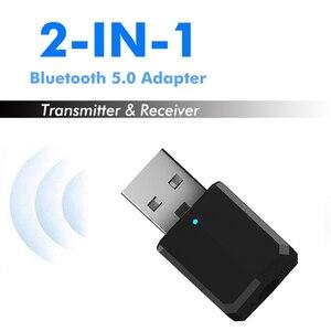 Image 1 - 5.0 Bluetooth משדר מקלט מיני 3.5mm AUX סטריאו אלחוטי Bluetooth מתאם לרכב אודיו Bluetooth משדר עבור טלוויזיה