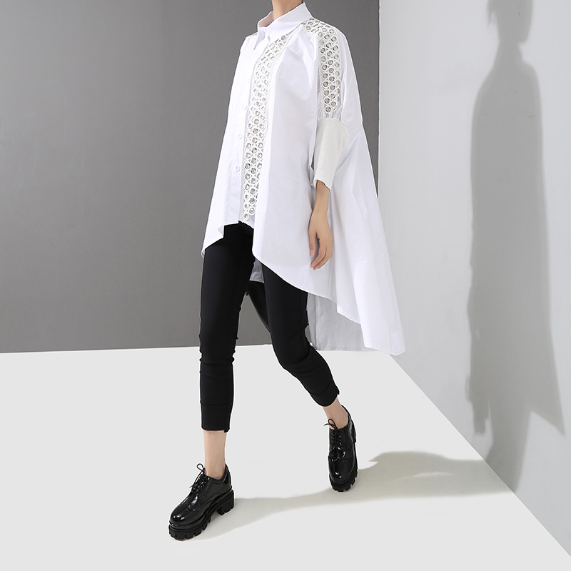 Korean fashion woman clothing Embroidered lace hollow Spring autumn Loose Shirt Women blouse Long Sleeve plus size long shirt in Blouses amp Shirts from Women 39 s Clothing