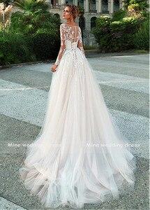 Image 3 - Mangas compridas vestido de casamento ilusão renda apliques com cinto vestidos de noiva botão traseiro e rendas até vestido de noiva