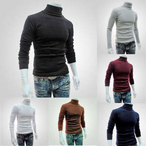 Pullover Sweater Jumper Tops Roll-Turtle-Neck Mens New-Fashion Knitted Casual Solid Tee