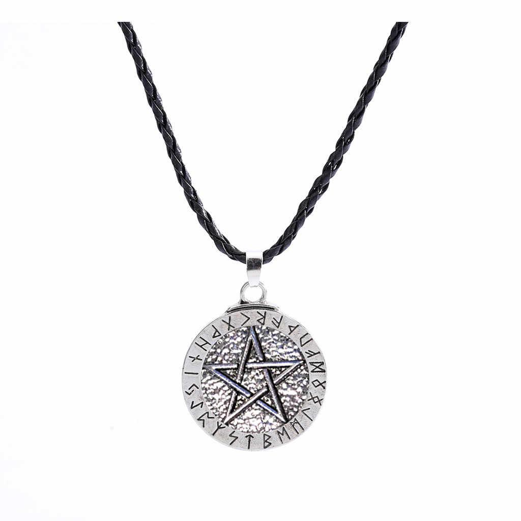 Retro Hadiah Wanita Pria Liontin Kalung Tali Rantai Besar Rune Nordic Viking Pentagram Perhiasan Wiccan Pagan Norse Gratis Pengiriman