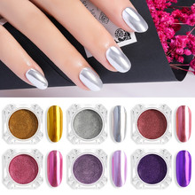 Shiny Mirror Powder Nail Art Glitter Chrome Pigment Powder Gold Silver Rose Manicure Mirror Nail Gel Polish Glitter Dust I033 1box mirror nail powder rose gold champagne silver metal effect glitter nail powder nail glitter dust decoration