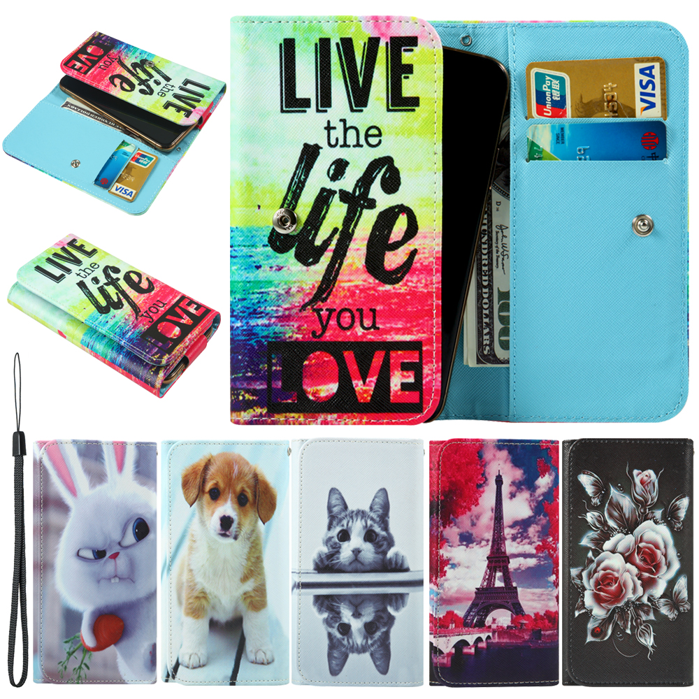 For Cricket Vision Wave Cubot A5 J3 Pro King Kong 3 Nova P20 R11 Power Painted Wallet Style With Card Slot Cover Bag Phone Case image