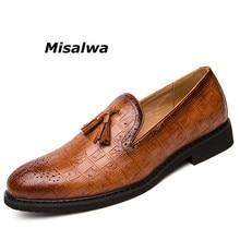 Misalwa Plus Size Handmad Men Party Dress Shoes Designer Social Driving Loafers Adult Rivets Tassel Male Slip On Moccasins