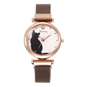 Women Bracelet Watches Stainless Steel Magnet Buckle Mesh Strap Crystal Wrist Watch Cat Print Dial Ladies Gift Watches Clock NEW