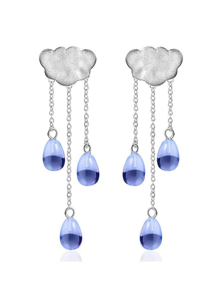 Drop-Earrings Crystal-Gems Fine-Jewelry Ethnic Long-Tassel Lotus Fun 925-Sterling-Silver