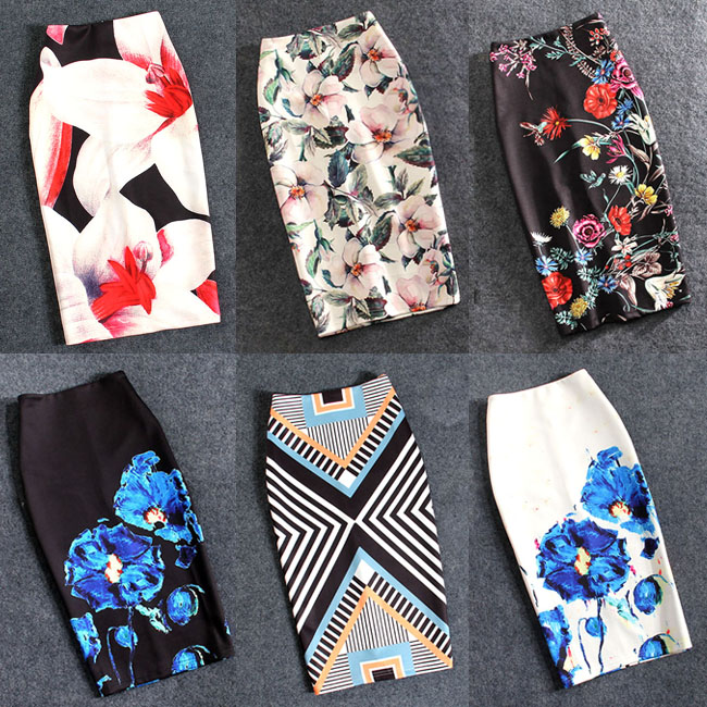 Women Skirts Print Flowers Pencil Skirt Summer Casual Skirts Fashion Plus Size Faldas Mujer Jupe