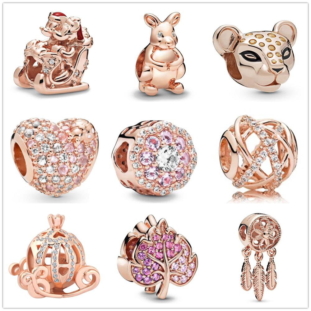Authentic Original 925 Sterling Silver Charm Bead Dreamcatcher Pendant Charms Rose Gold Fit Pandora Bracelets Women DIY Jewelry(China)