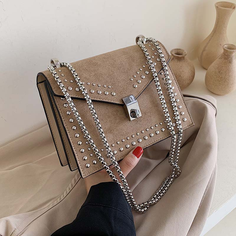 High Quality Scrub Leather Small Shoulder Messenger Bags For Women 2020 Chain Rivet Lock Crossbody Bag Female Travel Mini Bags