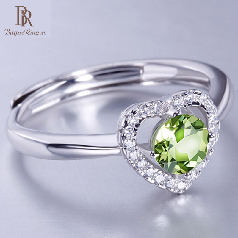Bague Ringen Luxury Jewelry 100% Sterling Silver Fashion Ring With 5mm Sweet Heart Olivine Stone Engagement Wedding Rings