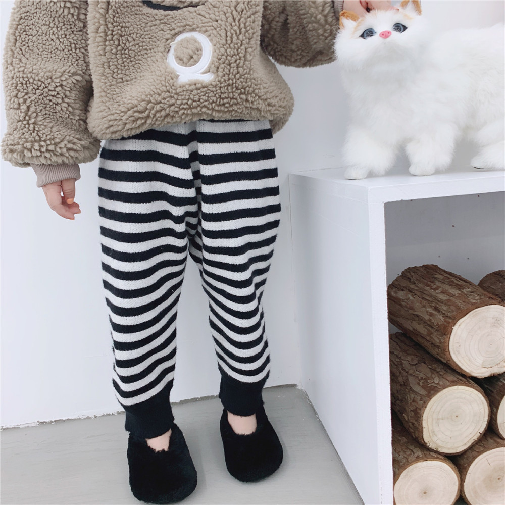 Autumn Winter Kids Striped Woolen Pants For Boys And Girls Cotton Harem Pants Korean Casual Pants Children Trousers 1-6 Y