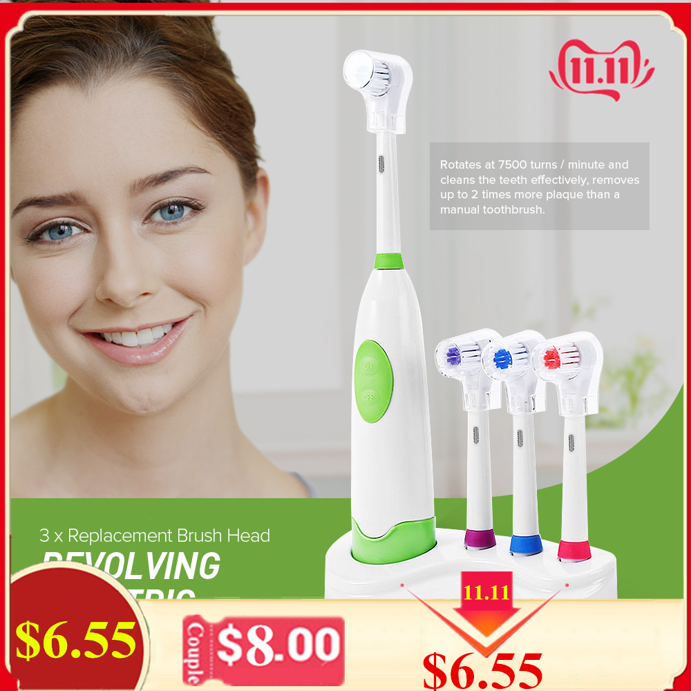 1 Set New Design Battery Operated Electric Toothbrush Waterproof Dental Care Revolving Toothbrush Heads + 3 Nozzles Oral Hygiene