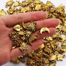 Бусины CCB смешанной формы, пластиковые подвески, антикварные золотые бусины-шармы для изготовления ювелирных изделий «сделай сам», аксессу...