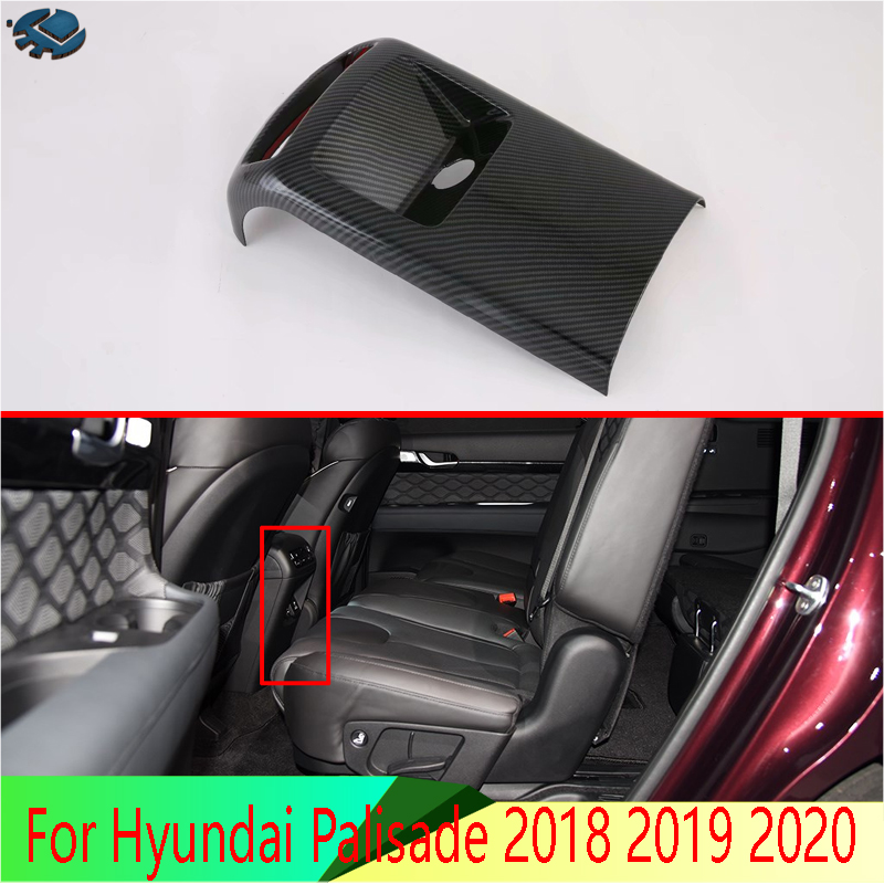 For Hyundai Palisade 2018 2019 2020 Car Accessories Carbon Fiber Style Plated Armrest Box Rear Air Vent Frame Trim Cover