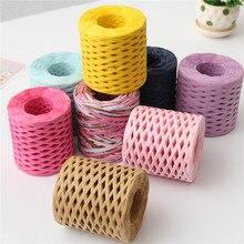 1 rolo 200m rafia fitas de papel embalagem corda de corda para o natal caixa de presente embalagem pacote diy artesanato decorações de festa