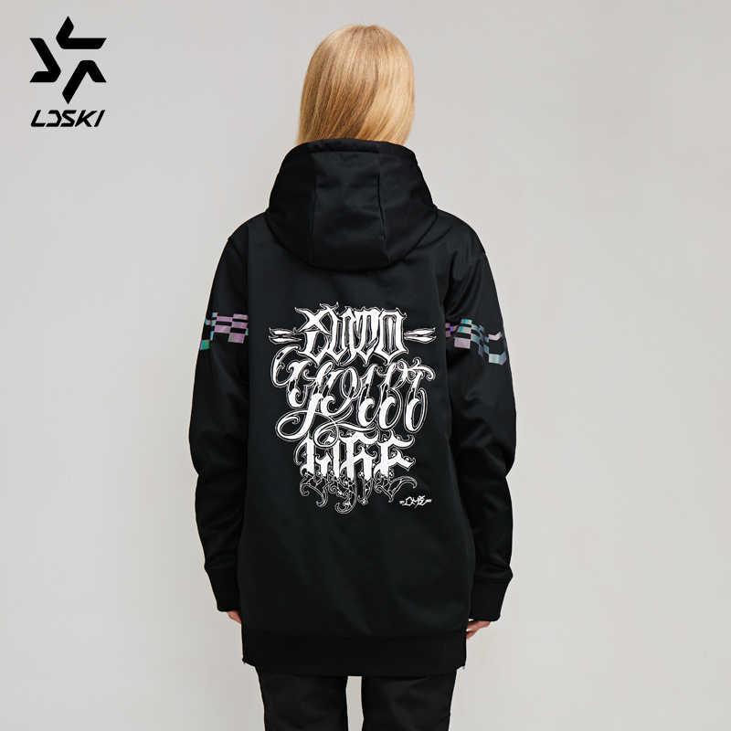 LDSKI kayak Hoodie ceket su geçirmez yüzey Chi serisi sıcak kentsel sokak şık kıyafet ön cep kazak hoodies