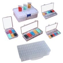 6/10/12/24/42/64 сетки DIY алмазная живопись, коробка для хранения ювелирных изделий с расшитым бисером прозрачный Пластик ящик для организации хранения контейнеров