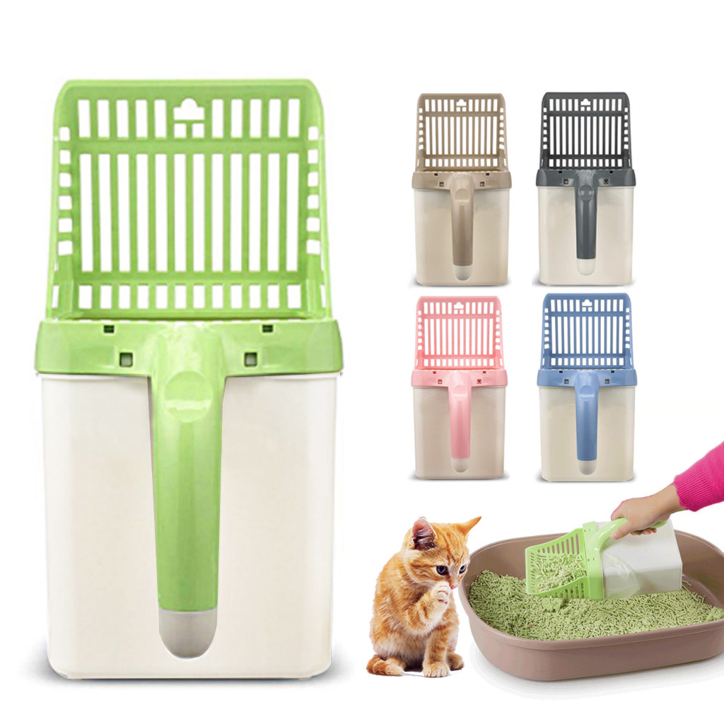 Cat Litter Shovel Pet Cleaning Tool Pet Cat Litter Sifter Hollow Neater Scooper Cat Toilet Training Tool With 15pcs Waste Bags
