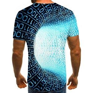 Three-dimensional tunnel graphic T-shirt casual Harajuku tops 3D lattice men's T-shirt summer O-neck shirt plus size streetwear