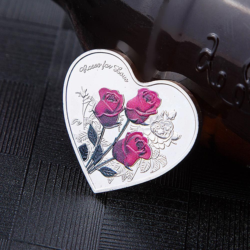 Gedenkmünze 1pc ICH Liebe Sie Emulation Valentines Tag Spiel Währung 38mm Liebe Herz Rose Dekoration Liefert
