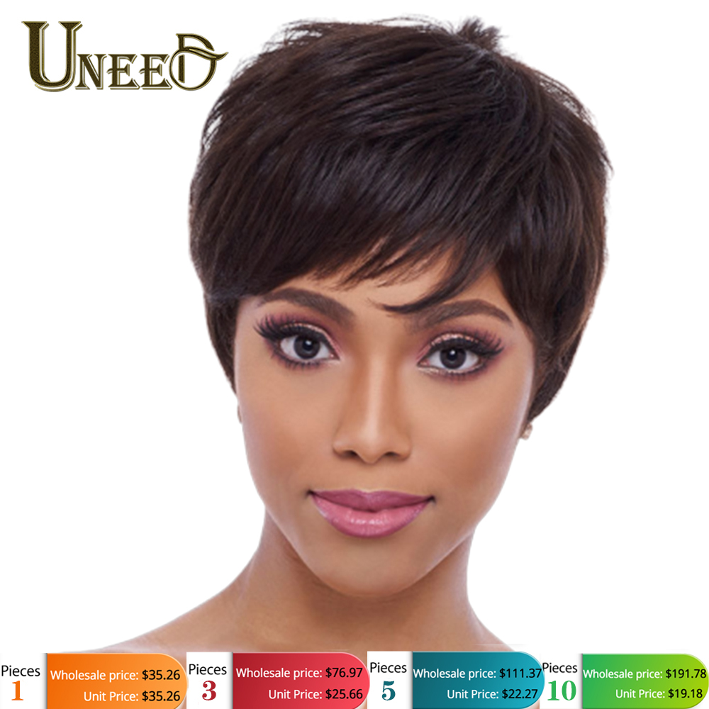Uneed Wholesales Price 1/3/5/10 PCS  Natural Wave Wigs Non Remy Brazilian Straight Human Hair Wig For Women Machine Made 1B,63g