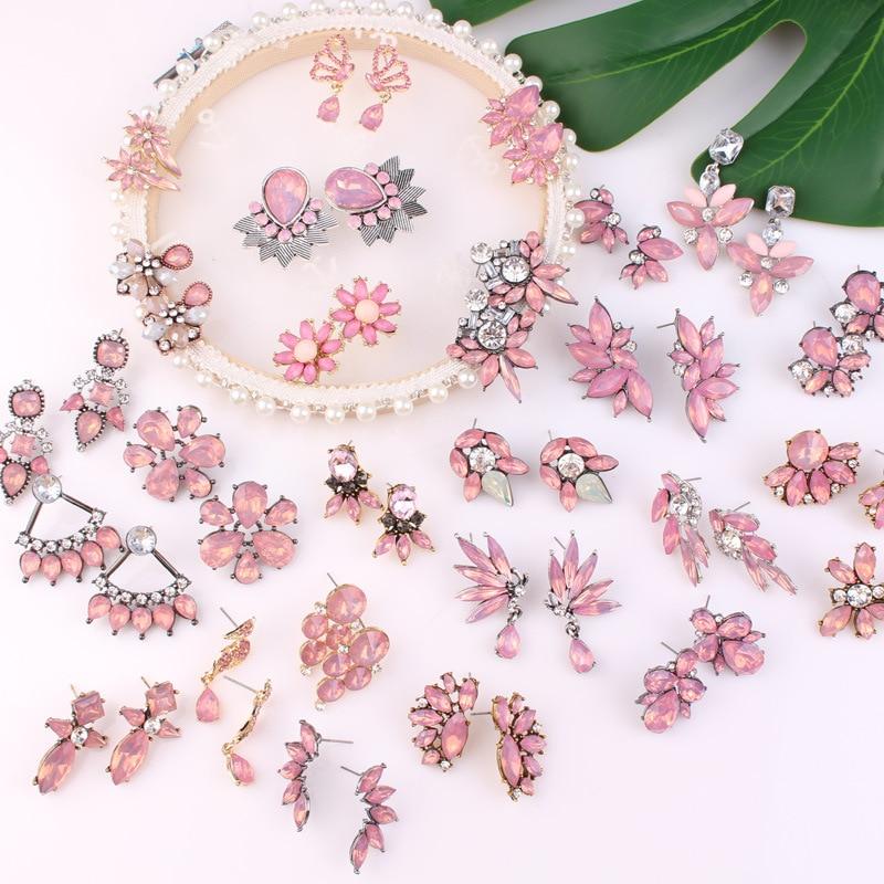 27 Models Pink Crystal Stud Earrings With Zinc Alloy For Women Crystal Earrings Flower Bowknot Leaf Earrings Jewelry Wholesale