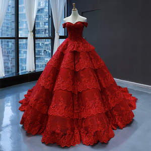 Image 3 - Customize Ball Gown Puffy Ruffle Tulle Lace Appliques Luxury Long Wedding Dress Wedding Gowns 2020 Mariage Bride Dress FR06M