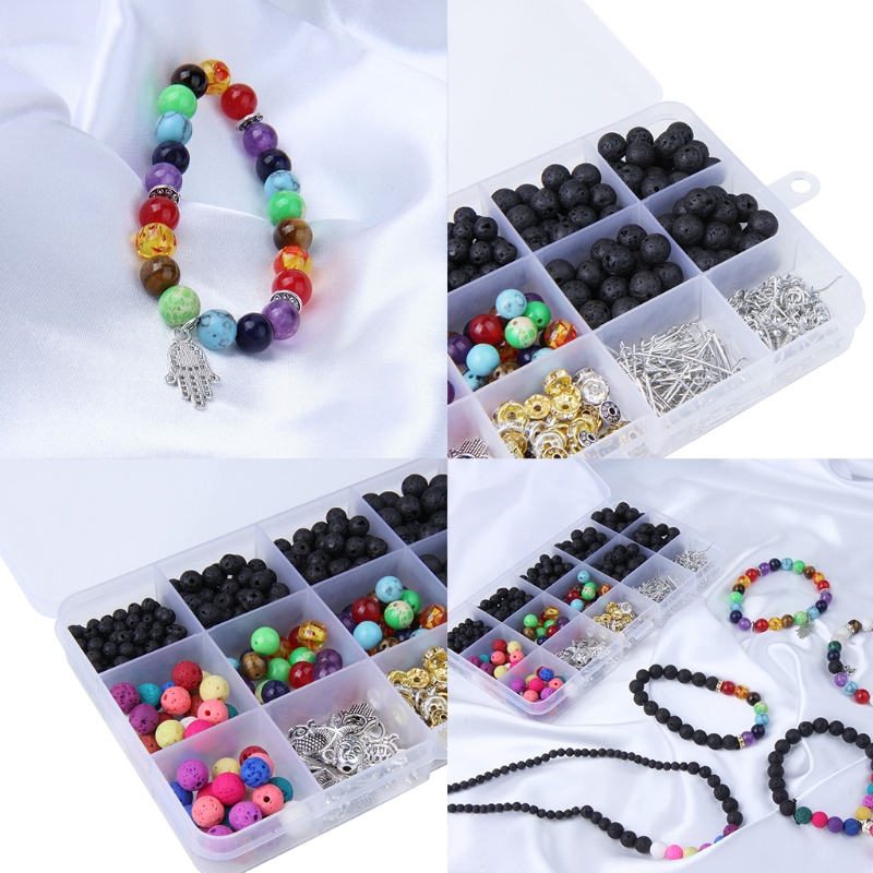 Black Colored Lava Beads Kit with 8mm Chakra Beads Alloy Spacer Beads Bracelet Elastic Strings for Homemade Jewelry
