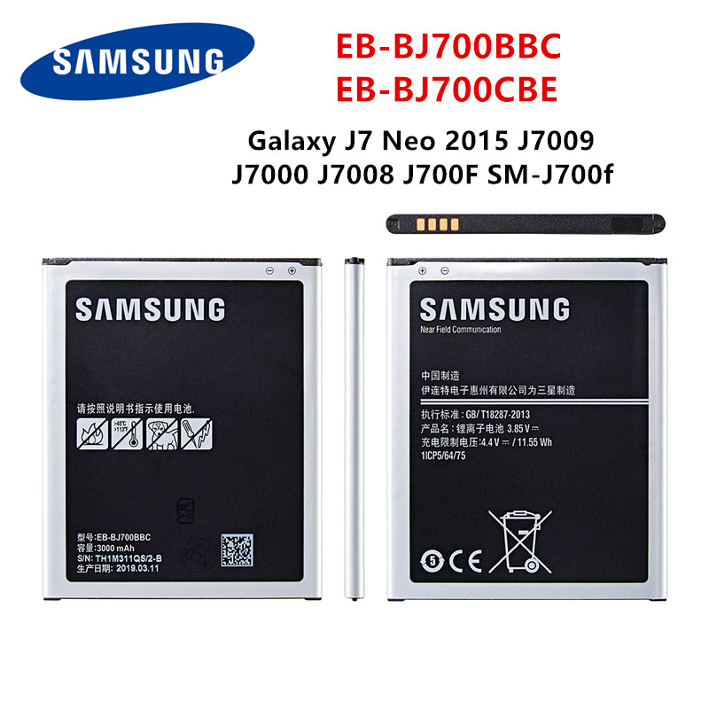 SAMSUNG Orginal EB-BJ700BBC EB-BJ700CBE Battery 3000mAh For Samsung Galaxy J7 2015 J4 2018 J7000 J7009 J7008 J701F J700F/H/DS/M