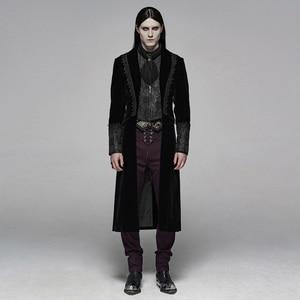 Image 2 - PUNK RAVE Mens Gothic Velvet Shuttle Weaving Jacquard Medium Length Jacket Halloween Club Party Cosplay Mens Long Coats
