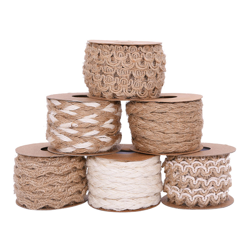 5M/Roll Braided Jute Rope Burlap Ribbon Rustic Hessian Ribbon Vintage Wedding Party Decoration Gift Wrapping Supplies DIY Crafts-0